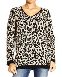 Armani Jeans Sweater V Jaquard Leopard - Lyst