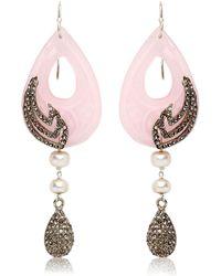 Katerina Psoma - Pink Jade Earrings - Lyst