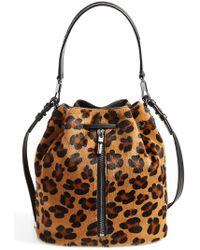 Elizabeth And James 'Cynnie' Genuine Calf Hair Bucket Bag - Lyst