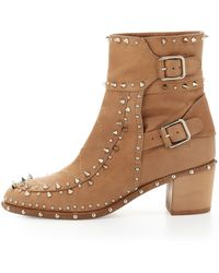 Laurence Dacade Studded Ankle Boot Beige - Lyst