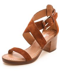 Belle By Sigerson Morrison Afton Cross Strap Suede Sandals Nero - Lyst