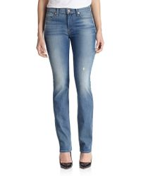 7 For All Mankind Distressed Slim Illusion Jeans - Lyst