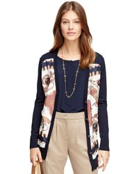 Brooks Brothers Silk and Cotton Cardigan - Lyst