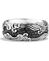 David Yurman - Waves Wide Band Ring with Black Diamonds - Lyst