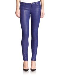 7 For All Mankind Coated Cropped Skinny Jeans - Lyst