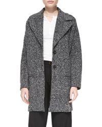 ATM Tweedy Fleece Long Overcoat Heathered Grey Xsmall - Lyst