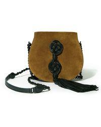 Saint Laurent | Passementerie Small Suede & Leather Chain Bag | Lyst