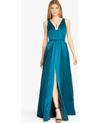 Halston | Geo Notched Satin and Chiffon Gown | Lyst