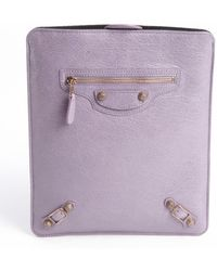 Balenciaga Light Purple Distressed Leather Tablet Case - Lyst