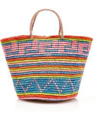 Sensi Studio Maxi Straw Tote In Tribal Print - Lyst