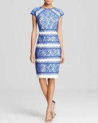 Tadashi Shoji Dress - Cap Sleeve Contrast Lace - Lyst