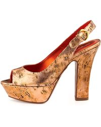 Sergio Rossi Distressed Leather Platform Sandal Copper - Lyst