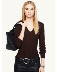 Ralph Lauren Cabled Cashmere V-Neck Sweater - Lyst