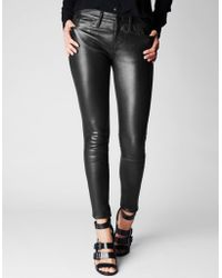 True Religion Halle Mid Rise Super Skinny Womens Leather Pant - Lyst
