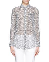 Theory 'Simara Nb' Botanical Print Silk Chiffon Shirt gray - Lyst