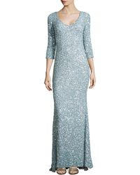 Theia 3/4-Sleeve V-Neck Sequined Gown - Lyst