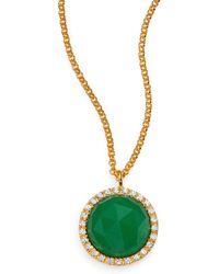 Mija Dark Green Jade & White Sapphire Button Pendant Necklace - Lyst