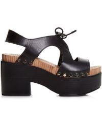 Balenciaga | Cut-out Vegetal-leather Platform Sandals | Lyst