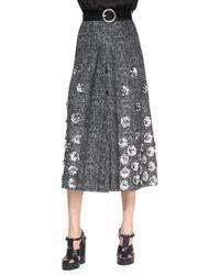 Michael Kors Rose-applique Wool Skirt - Lyst