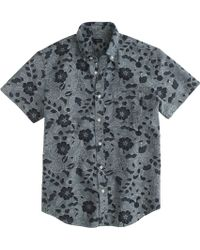 J.Crew Short-Sleeve Japanese Chambray Shirt In Indigo Floral - Lyst