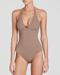 Tory Burch Solid Logo One Piece Swimsuit - Lyst