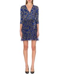 Diane Von Furstenberg Irina Star-print Silk Wrap Dress - Lyst