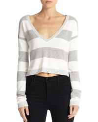 Alice + Olivia Cropped Striped Sweater - Lyst