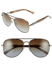 Michael Kors Collection 58Mm Polarized Aviator Sunglasses - Lyst