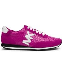 Michael Kors Stanton Embossed-Leather And Suede Sneaker - Lyst