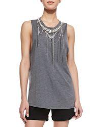 Haute Hippie Sleeveless Necklace-embellished Slub Top - Lyst