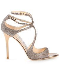 Jimmy Choo Gold Lang Sandals - Lyst