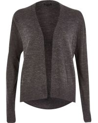 River Island Dark Grey Metallic Flecked Cardigan - Lyst