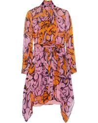 Miu Miu Printed Silk-Chiffon Mini Dress - Lyst