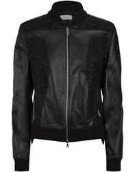 Nina Ricci Lace and Leather Bomber Jacket - Lyst