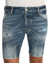 DSquared² Stone Washed Destroy Paint Denim Shorts - Lyst
