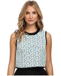 Tibi Felted Embroidery Lace Sleeveless Top - Lyst