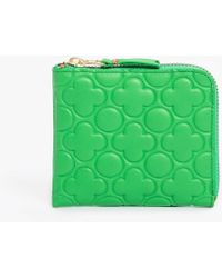 Comme des Garçons Half Zip Clover Emboss Wallet green - Lyst
