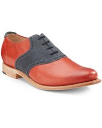 Jd Fisk - Nikko2 Leather Suede Saddle Shoes - Lyst