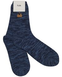 Folk Navy Melange Socks blue - Lyst