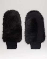Whistles - Faux Fur Knit Mittens - Lyst