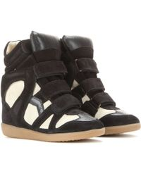 Isabel Marant Bekett Leather And Suede Concealed Wedge Sneakers - Lyst