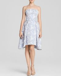 Vera Wang Strapless Jacquard Pleated Fit And Flare Dress - Bloomingdale'S Exclusive - Lyst