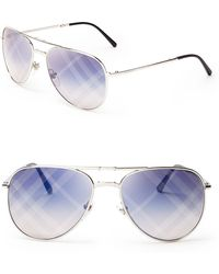 Burberry Spark Mirrored Aviator Sunglasses - Lyst
