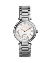 Michael Kors Mini Silver Color Stainless Steel Skylar Threehand Glitz Watch - Lyst