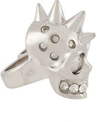 Alexander McQueen Punk Skull Double Knuckle Ring - Lyst