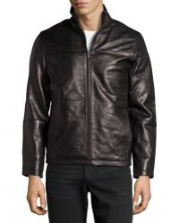 Emanuel Ungaro Lambskin Leather Stand Collar Jacket Black Medium - Lyst