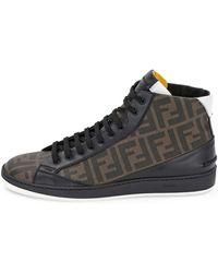 Fendi Zucca High-top Leather Sneaker - Lyst