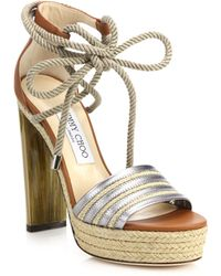 Jimmy Choo | Mayje Metallic Leather & Raffia Platform Sandals | Lyst