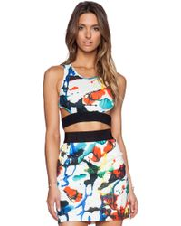 Milly Expressionist Print Crop Top - Lyst