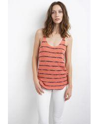 Velvet By Graham & Spencer Anona Cotton Crochet Stripe Tank Top red - Lyst